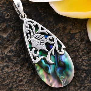 Bali legacy abalone Shell pendant in sterling